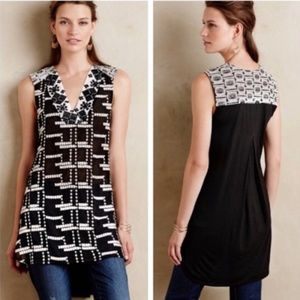 Anthropologie Tiny black and white Sheer Tunic